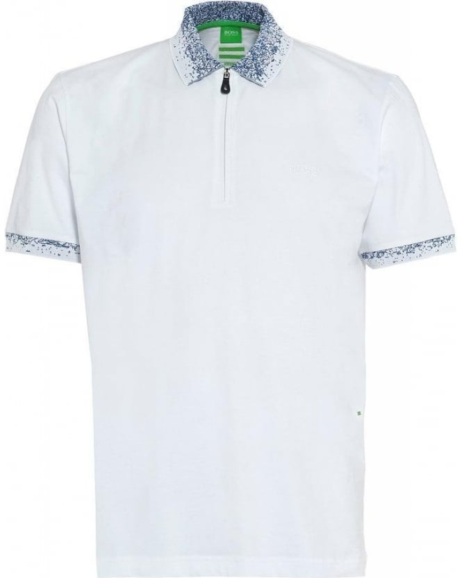 Hugo Boss Green Polo Shirt White Zip 'Philix' Polo