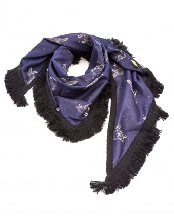 Womens Shawl, Fox Denim Blue Silver Scarf