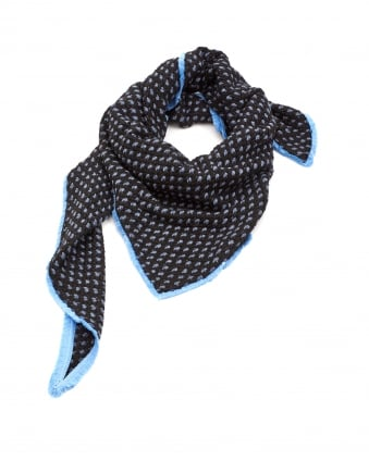 Womens Shawl, Soft Spotted Blue Scarf