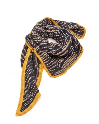 Womens Shawl, Soft Striped Navy Blue Taupe Scarf