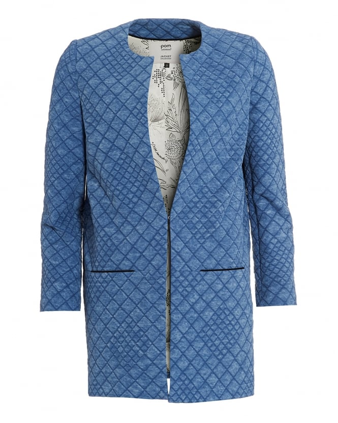 POM Womens Denim Light Jacket, Quilted Blue Coat