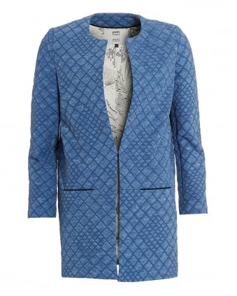 Womens Denim Light Jacket, Quilted Blue Coat