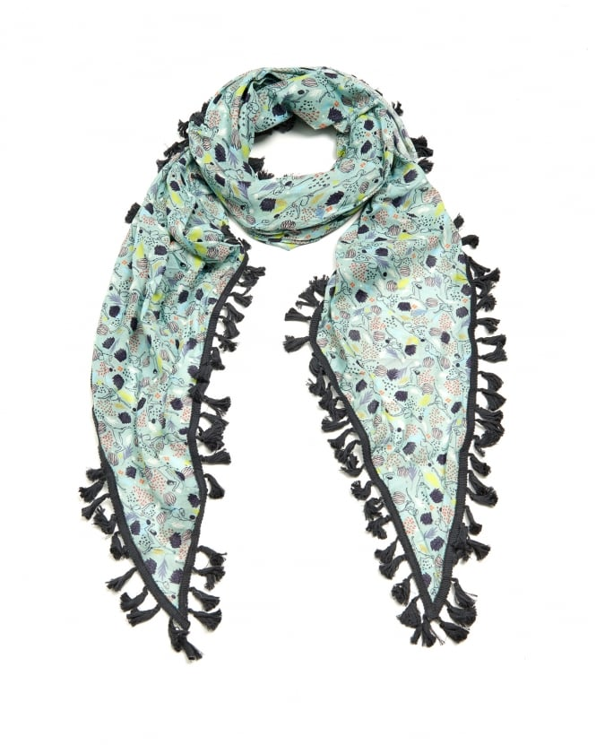 POM Womens Monkey Jungle Print Shawl, Tassle Edge Multi Charcoal Grey Scarf