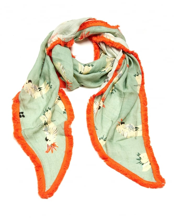 POM Womens Pretty Parrot Print Shawl, Triangular Green Orange Scarf
