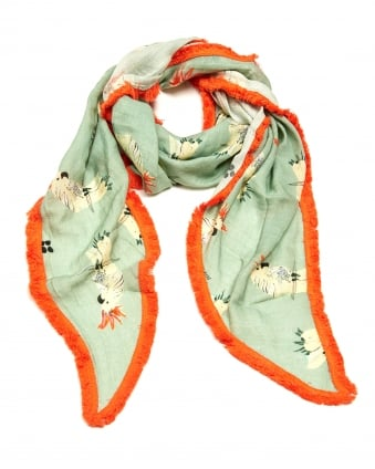 Womens Pretty Parrot Print Shawl, Triangular Green Orange Scarf