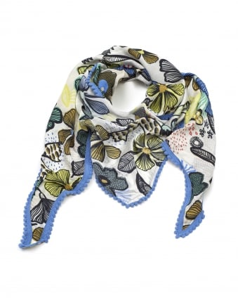 Womens Shawl, African Summer Black Blue Multi Scarf
