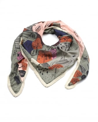 Womens Shawl, Amsterdam City Print Green Multi Scarf