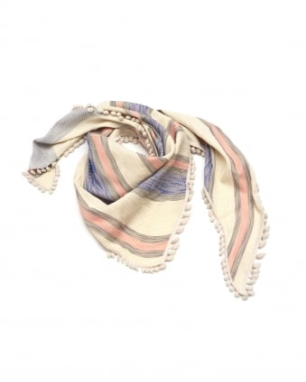 Womens Shawl, Beach Stripes Cream Blue Pink Scarf