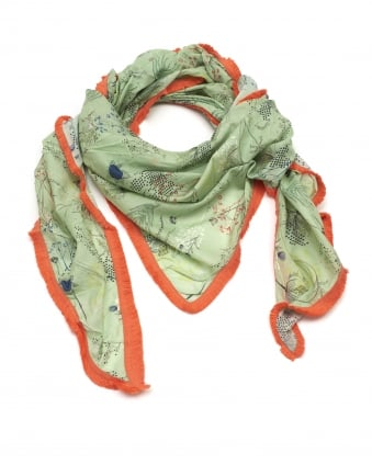 Womens Shawl, Botanical Lime Green Scarf