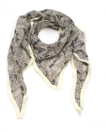 Womens Shawl, Canalhouses Print Taupe Scarf