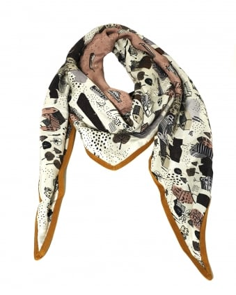 Womens Shawl, Double Sided Amsterdam City Print Olive Cream Scarf