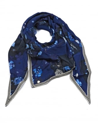 Womens Shawl, Flower Bunch Print Blue Scarf
