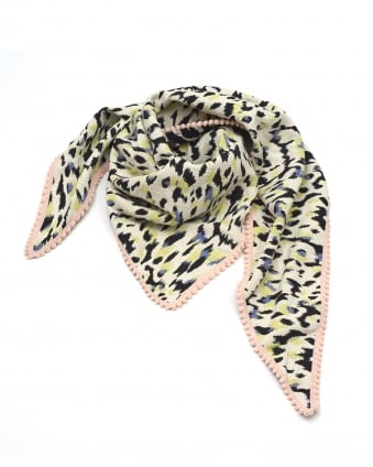 Womens Shawl, Panther Print Black Cream Lime Scarf