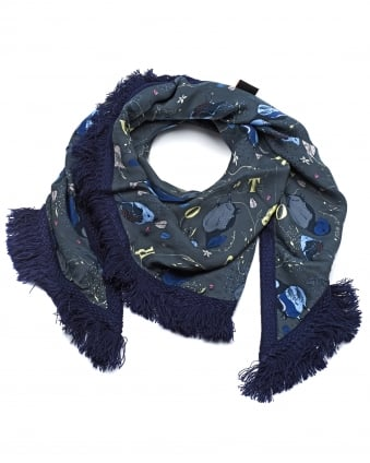 Womens Shawl, Pretty Puffin Print Blue Scarf