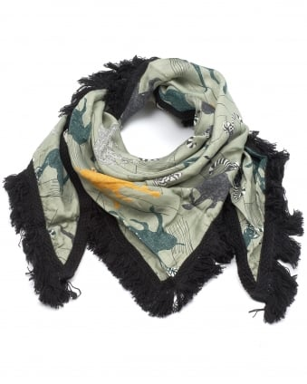 Womens Shawl, Thin Check Olive Scarf