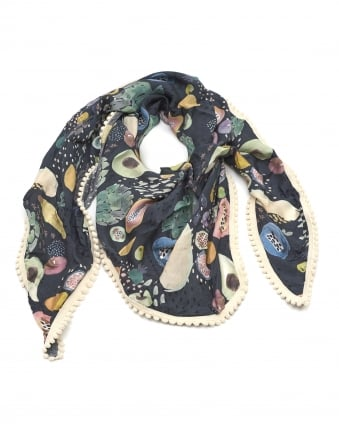 Womens Shawl, Tropical Fruit Print Black Multi Scarf
