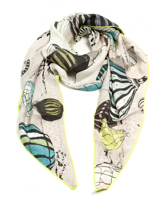 POM Womens Sky Balloon Print Shawl, Triangular Cream Grey Scarf
