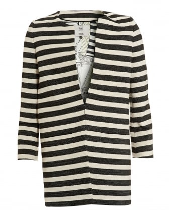 Womens Striped Jacket, Black White Coat