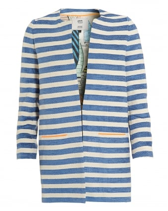 Womens Striped Jacket, Blue White Coat