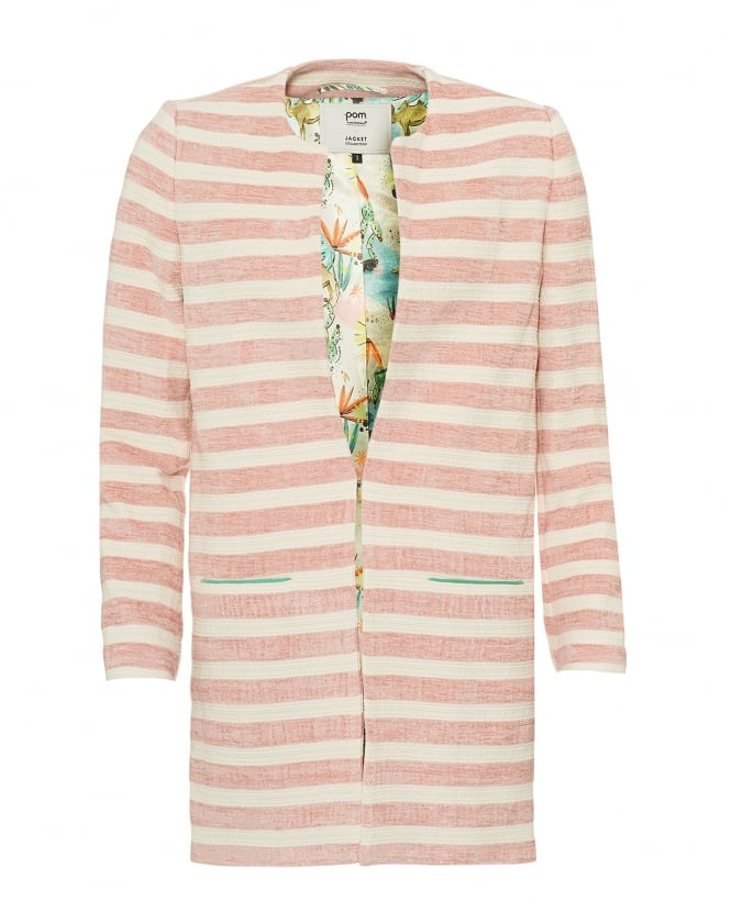 POM Womens Striped Jacket, Cactus Print Lining Pink Cream Coat