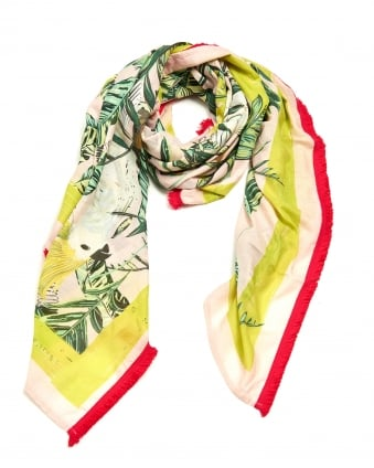 Womens Tropical Parrot Print Sarong, Square Lime Pink Scarf