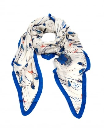 Womens Water Lily Print Shawl, Triangular Blue Taupe Scarf
