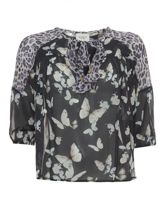 Primrose Park Womens Felicity Top, Butterfly Leopard Print Grey Blouse