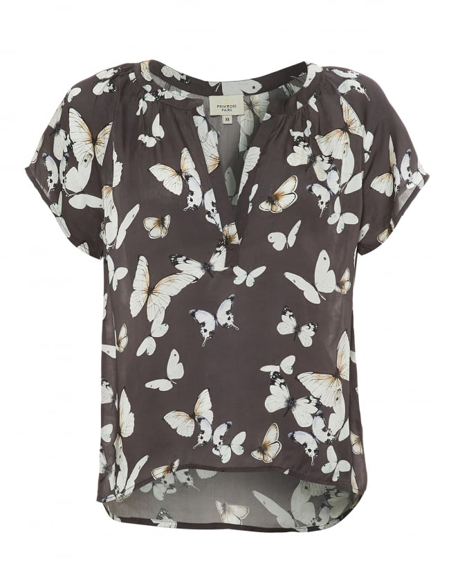 Primrose Park Womens Jack Top, Beautiful Butterfly Print Charcoal Grey Top