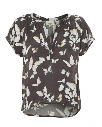 Womens Jack Top, Beautiful Butterfly Print Charcoal Grey Top
