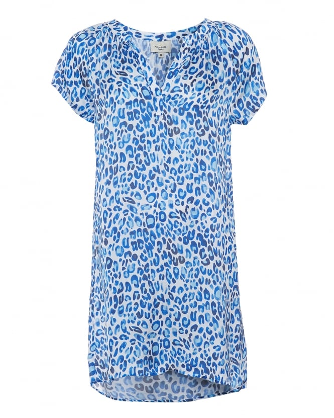 Primrose Park Womens Milli Dress, Blue Leopard Print Tunic Dress