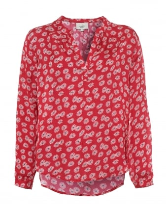 Womens Sandy Shirt, 70s Daisy Print Red Blouse