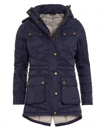 International Womens Circlip Quilted Jacket, Navy Blue Chevron Coat