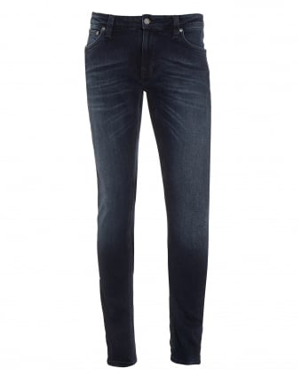 Mens Skinny Lin Jeans, Blackened Indigo Blue Denim
