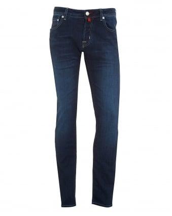 Mens Whiskered Front Jean, Slim Fit Dark Whisk Jeans