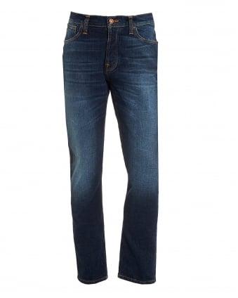 Mens Dude Dan Jeans, Dark Fuzz Straight Fit Organic Stretch Denim