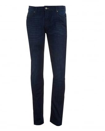 Mens Ronnie Jeans, Dark Blue Slim Fit Denim