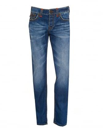 Mens Rocco Jeans, Skinny Super T Blue Metal Denim