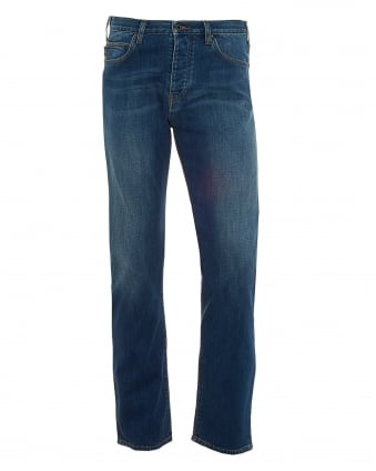 Mens J21 Jeans, Cross Hatch Whiskered Mid Light Denim