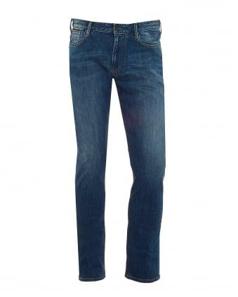 Mens J06 Jeans, Cross Hatch Whiskered Slim Fit Mid Light Denim