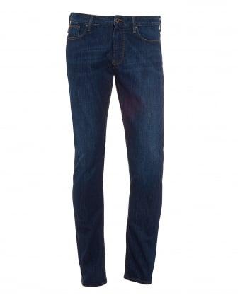 Mens J06 Jeans, Slim Fit Tobacco Stitch Mid Wash Denim