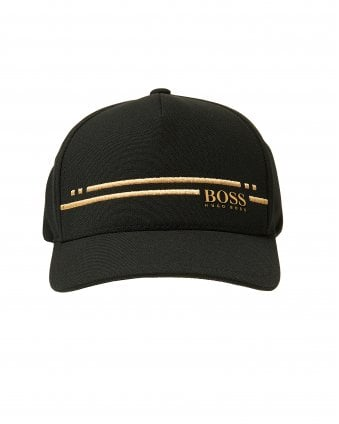 Mens Cap-Stripe Cap, Black Gold Hat