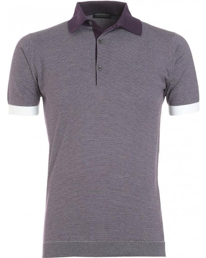 John Smedley Purple Black Grape Fine Stripe 'Brandon' Polo Shirt