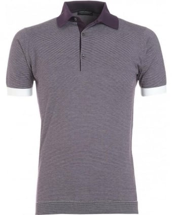 Purple Black Grape Fine Stripe 'Brandon' Polo Shirt