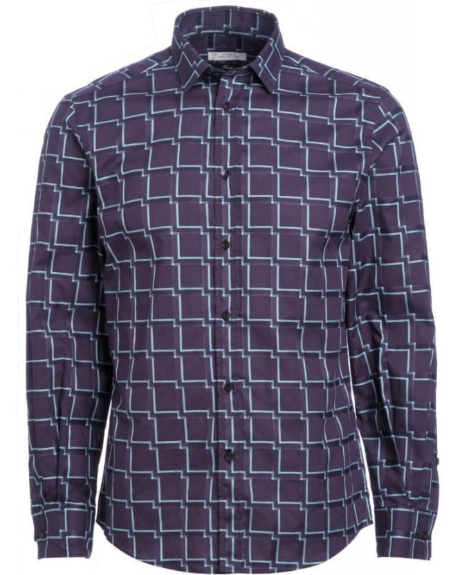 Versace Collection Purple Sky Geometric Shirt