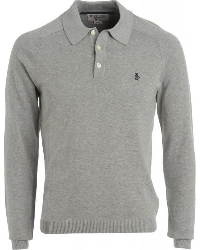 Original Penguin Rain Heather Grey Long Sleeve Slim Fit Polo Shirt