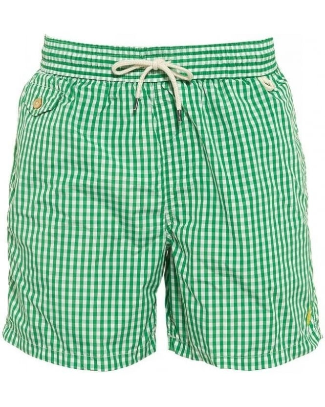 Swimming Costumes|Men's Ralph Lauren Green Gingham Drawstring Swim Shorts