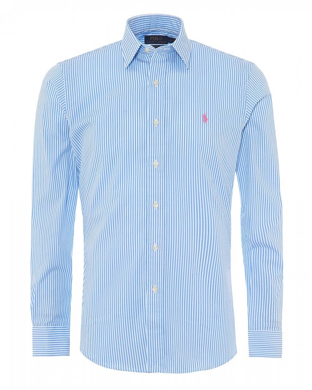dfe70019 Ralph Lauren Men Fine Stripe Powder Blue White Slim Shirt