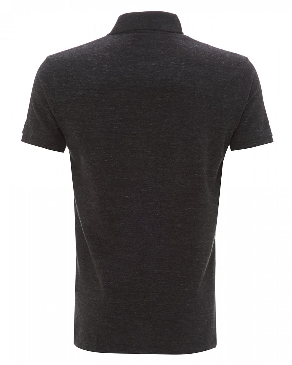 Mens Black Marl Heather Chest Logo Polo Shirt