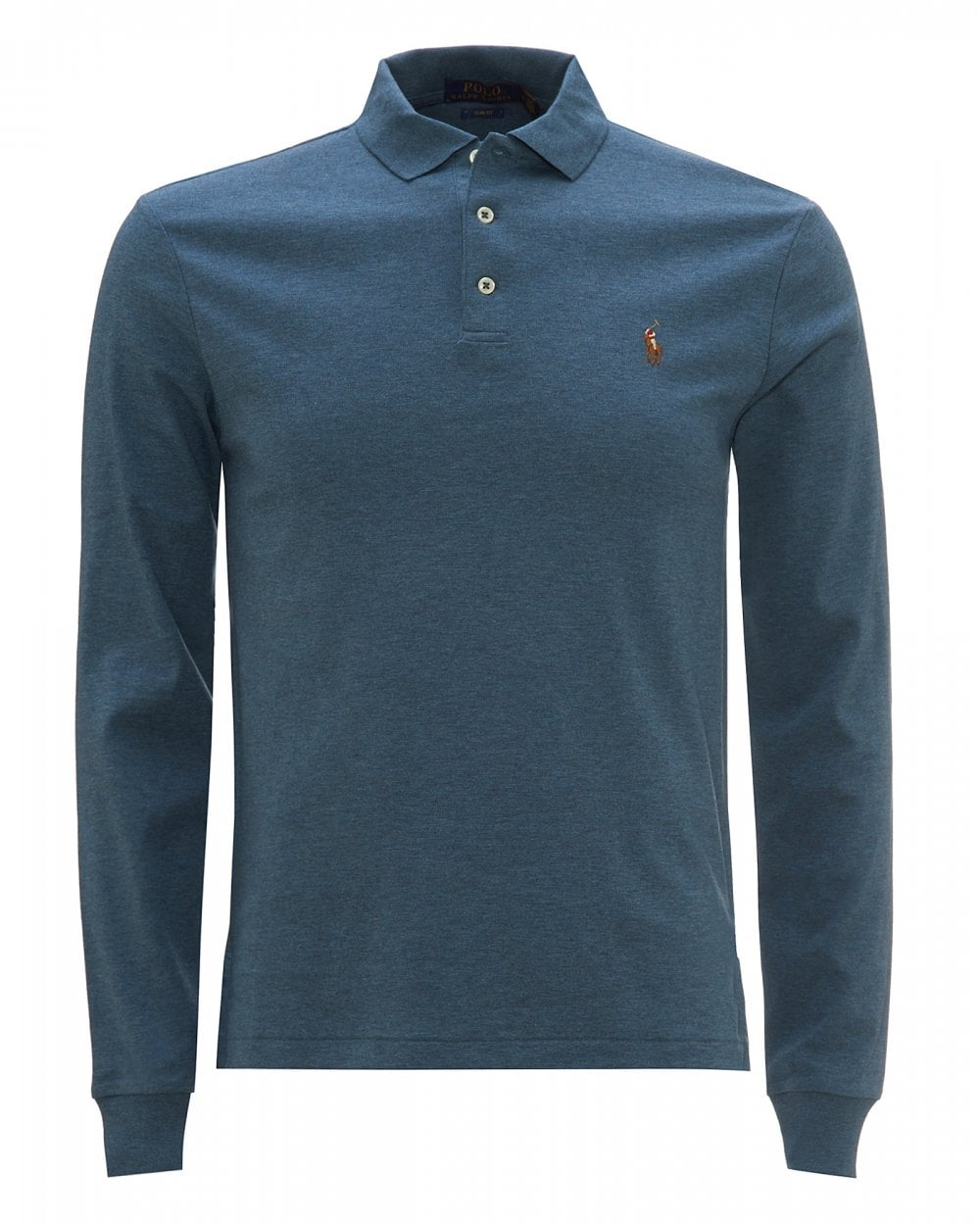 Mens Sleeved Long Shirt Polo Heather Blue wPnX80NOk