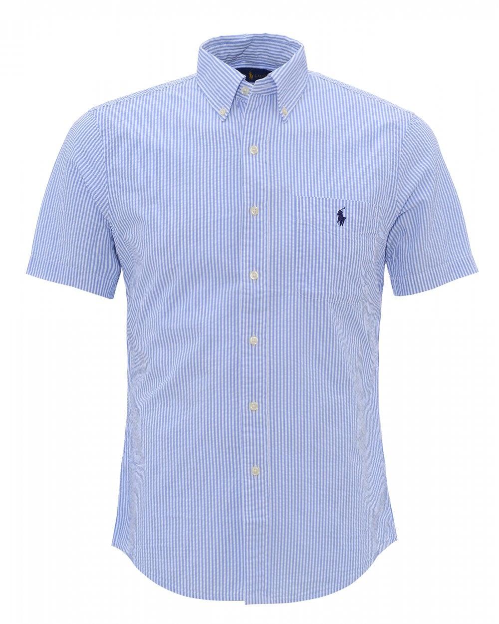 0d4c4701 Ralph Lauren Mens Blue Striped Seersucker Slim Fit Pocket Shirt